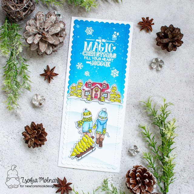 Magic of Christmas Card by Samantha VanArnhem | Holiday Home Stamp Set by Newton's Nook Designs