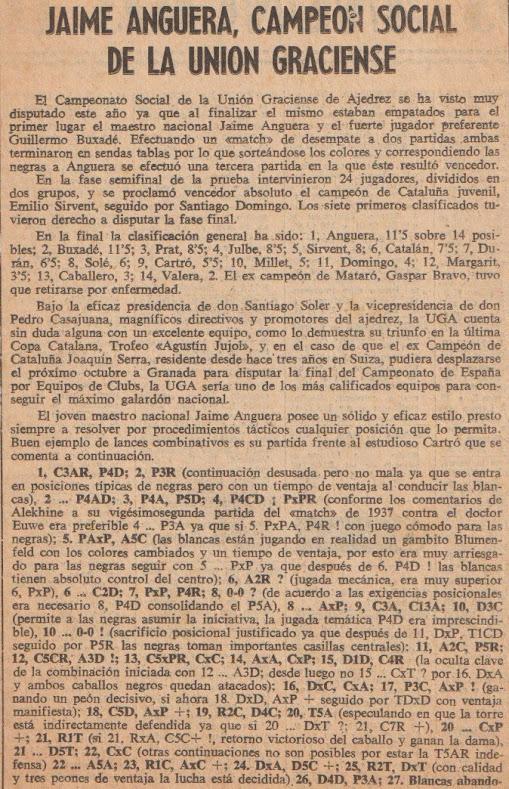 Recorte de prensa, JAume Anguera Campeón del Torneo Social de la Unió Graciense