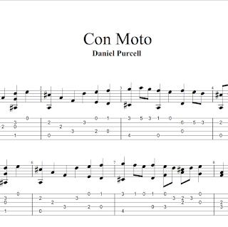 Con Moto de Daniel Purcell Partitura con Tablatura de Guitarra