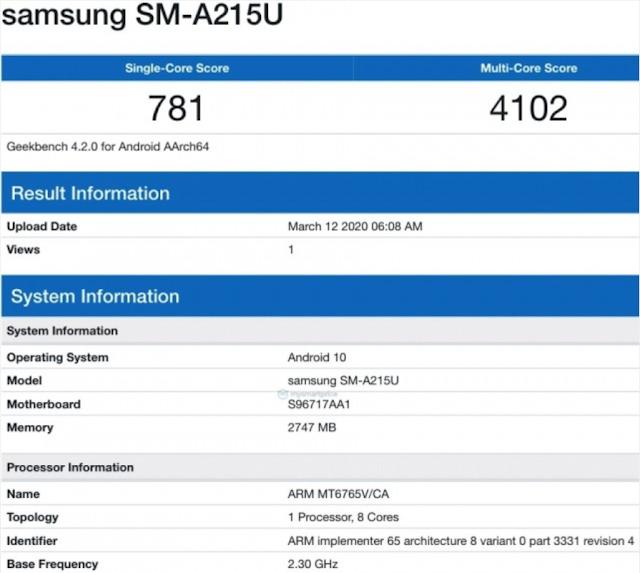 يظهر Samsung Galaxy A21 على Geekbench جديد سامسونج