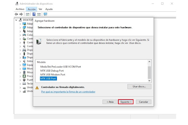 Instalación de driver heredado MTK USB VCOM en Windows
