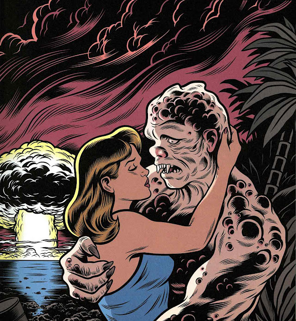 a Charles Burns illustration of a woman kissing a monster before a nuclear explosion