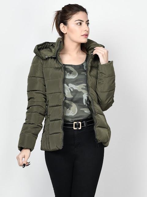Limelight winter wear women Army Green Faux Far Jacket