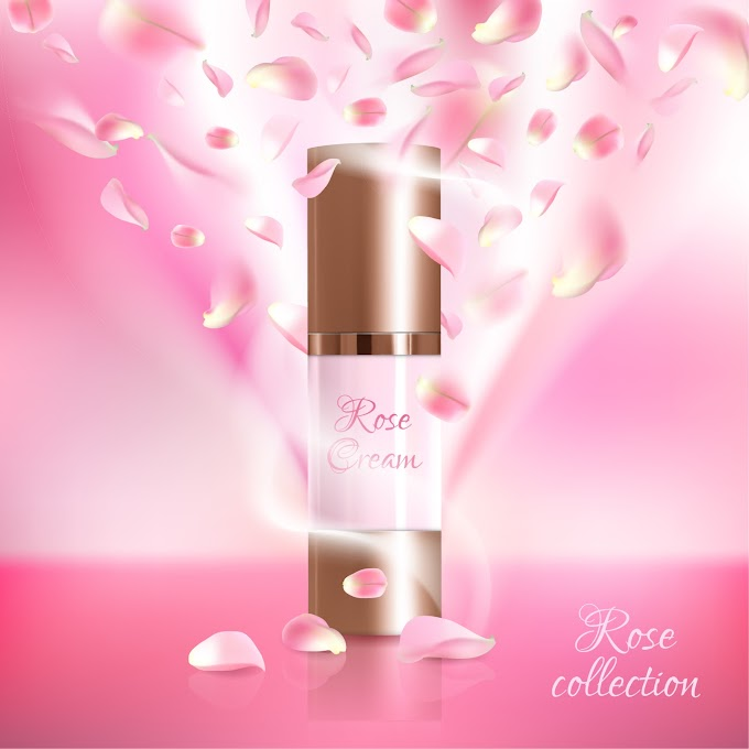 Nature rose water cosmetic AD poster template free vector