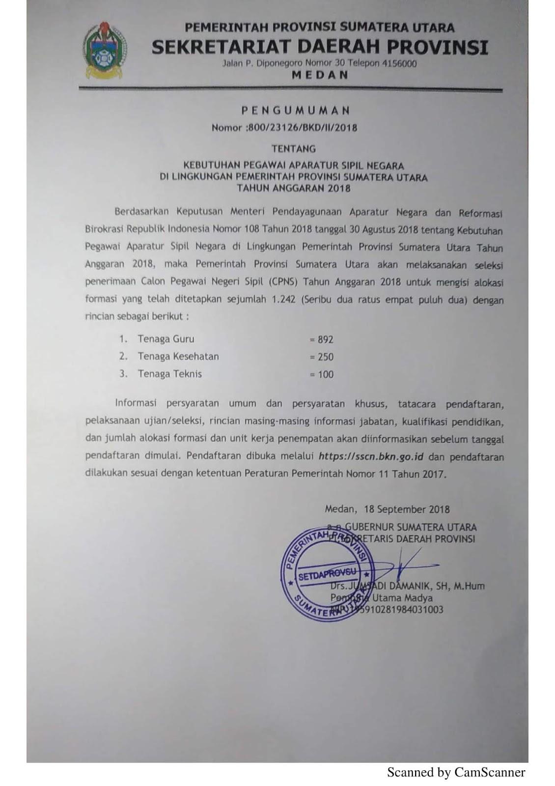 Pengumuman Seleksi CPNS Pemrov Sumatera Utara