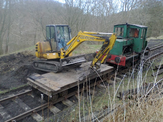 Railway track work ballasting East Tanfield bank