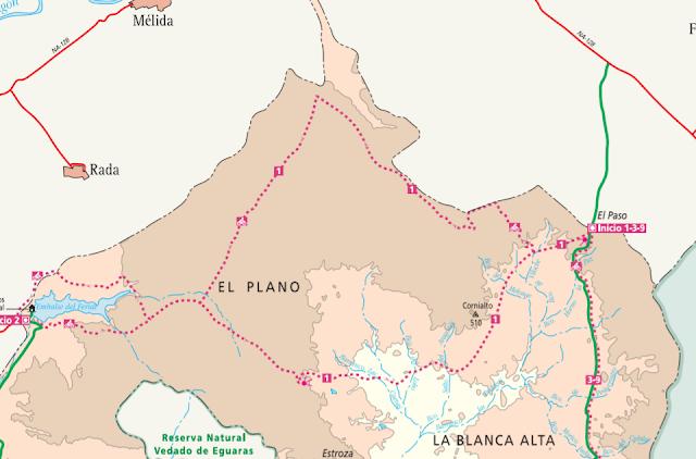Mapa de El Plano, en Bardenas Reales