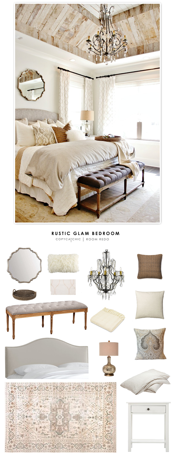 Rustic Glam Bedroom For Less- Copycatchic