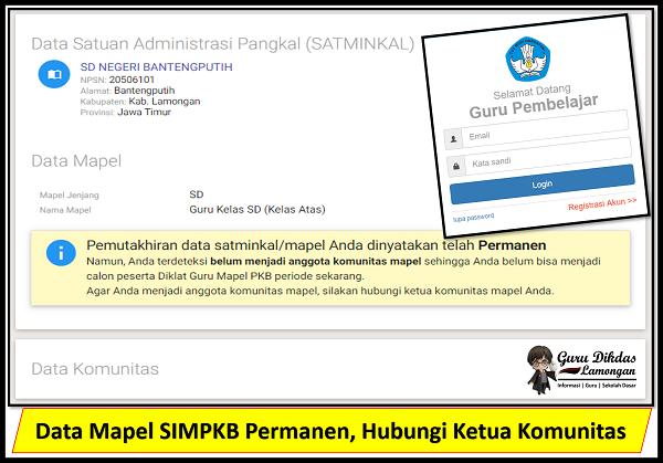 Data Mapel SIMPKB Permanen, Hubungi Ketua Komunitas