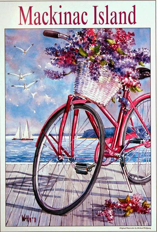 Rental Bike sitting on smooth white rocks on the shore of ... |Mackinac Island Bicycle Cafe