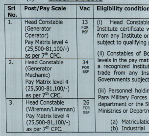 BSF Head Constable Salary