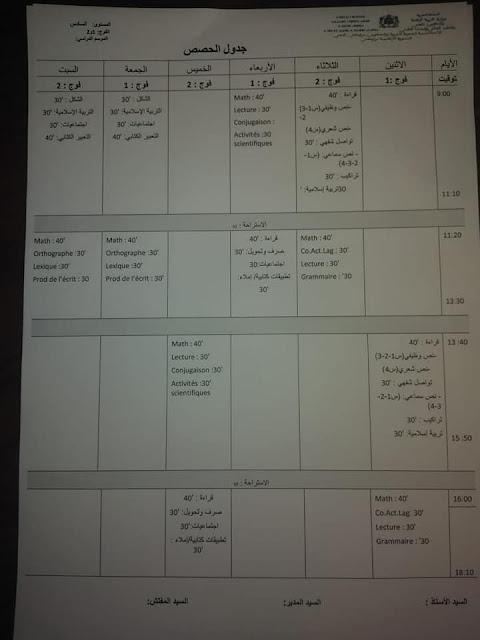 نماذج جداول الحصص الأسبوعية بالتعليم الابتدائي في ظل النموذج التناوبي