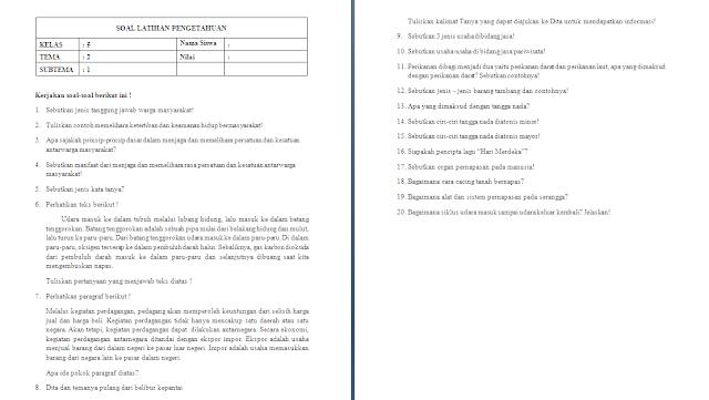 Soal ulangan harian kelas 5 SD/MI Tema 2