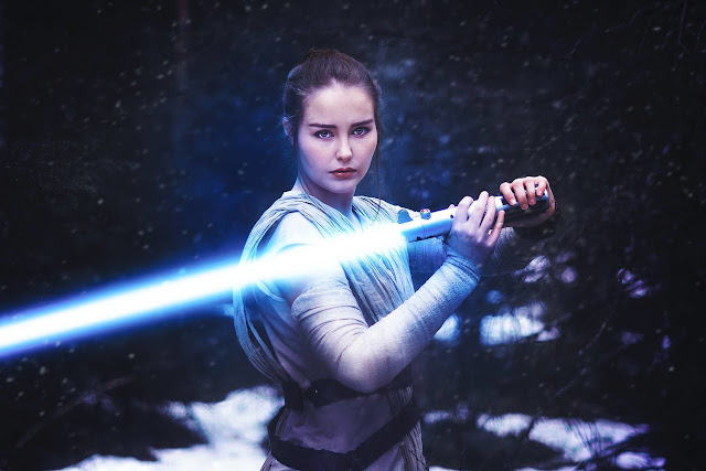 Rey drawn lightsaber cosplay