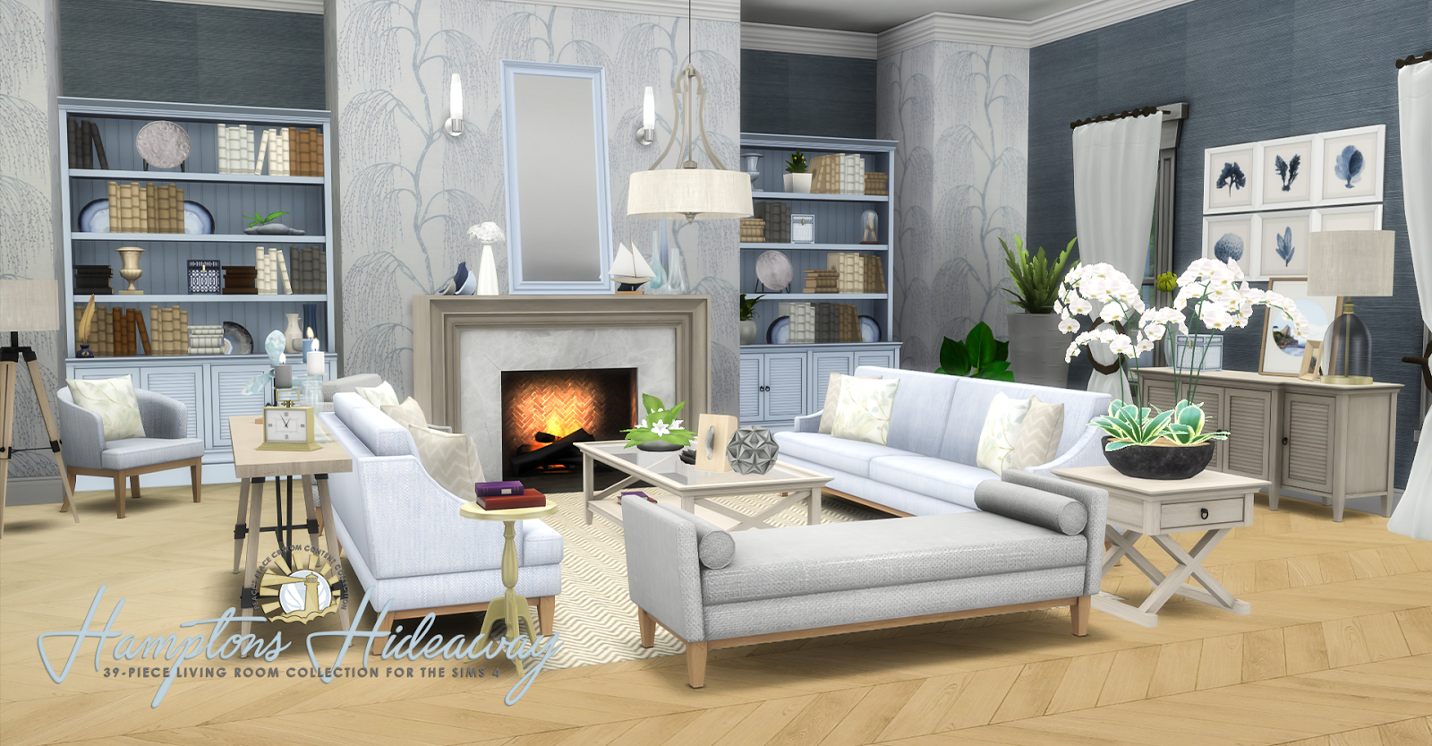 My sims 4 blog updated hamptons hideaway living room for Sims 3 living room ideas