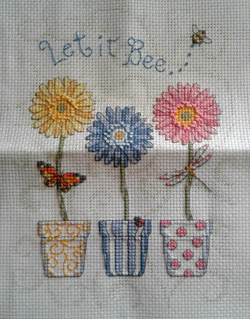 Finished Let it Bee Cross Stitch