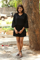 Actress Hebah Patel Stills in Black Mini Dress at Angel Movie Teaser Launch  0060.JPG