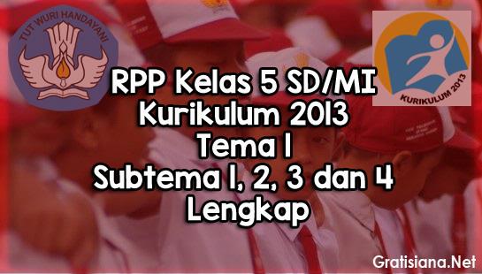 Contoh RPP Kelas 5 SD/MI Kurikulum 2013 Tema 1