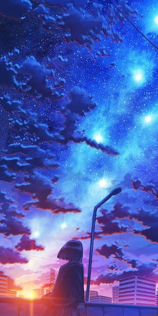 Cảnh hoàng hôn giữa bầu trời đầy sao