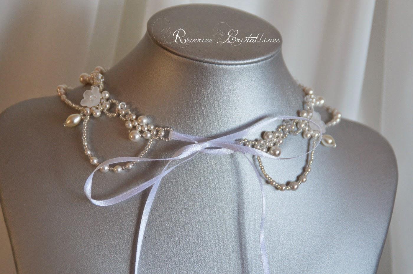bijoux mariée perles cristal et satin