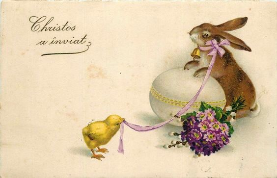 iepuras de paste felicitare Paste vintage Romania Christos a inviat