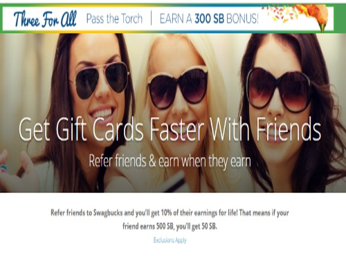 Swagbucks Three For All Pass The Torch Earn 300 SB Bonus