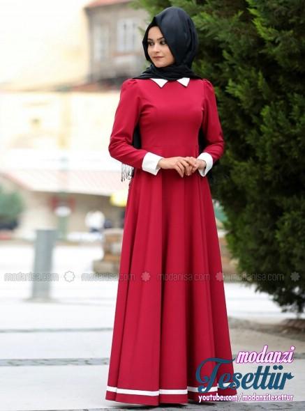 c147aaa6c0588 Modanisa 2017 Tesettür Elbise Modelleri - Lal Elbise - Kırmızı - Nurgül  Çakır