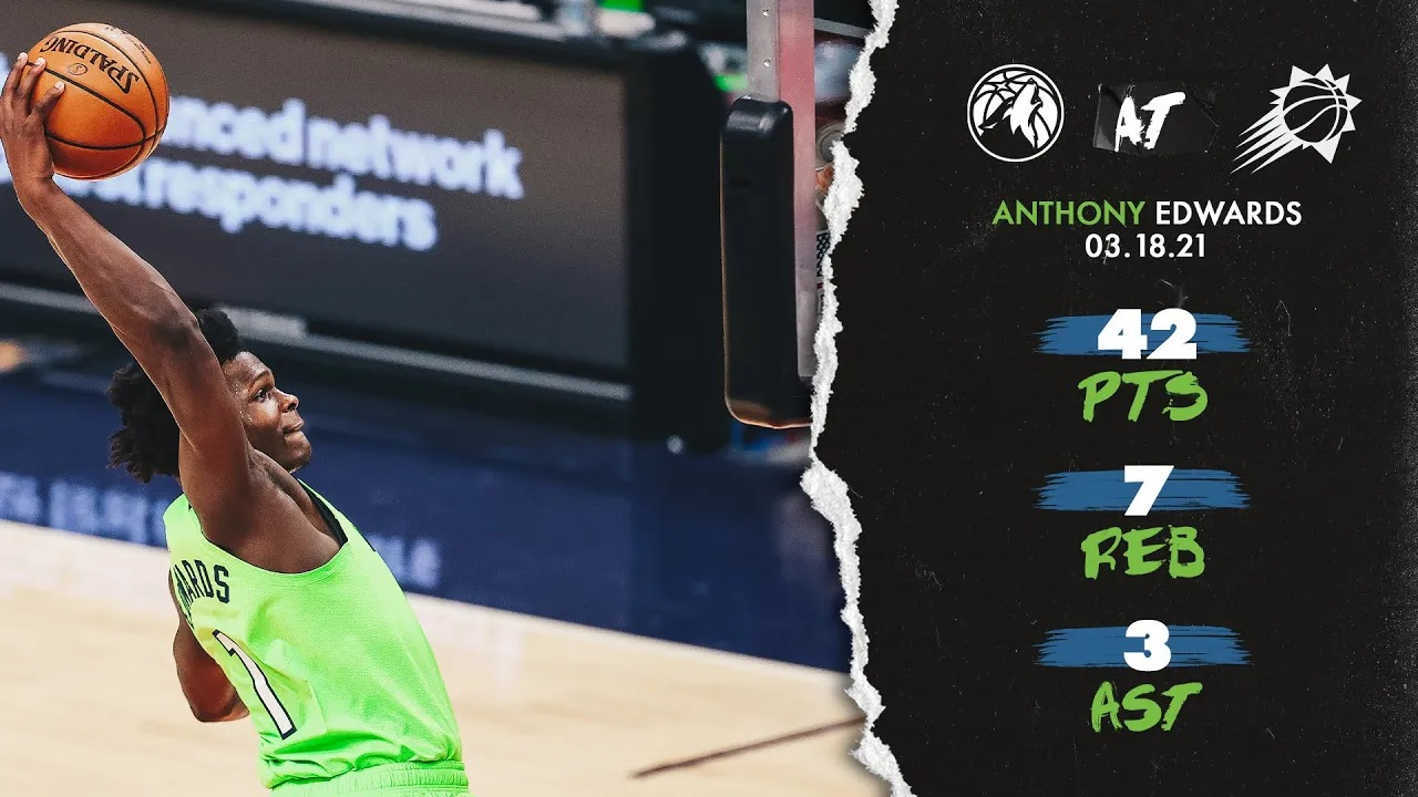 Anthony Edwards 42pts 7reb vs PHO | March 18, 2021 | 2020-21 NBA Season