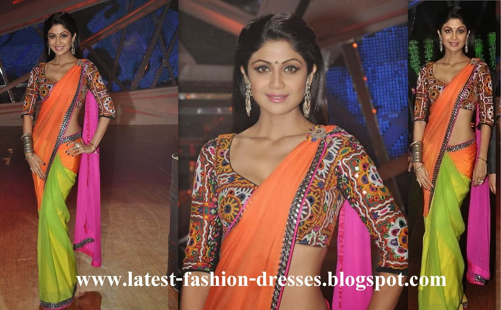 Bollywood actress shilpa shetty in saree blouse