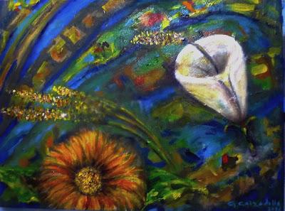Autora: Gladys Calzadilla. Título: El Paso del Viento. Técnica: Pintura sobre tela. Dimensiones: 30 x 40 cm. Año: 2016.
