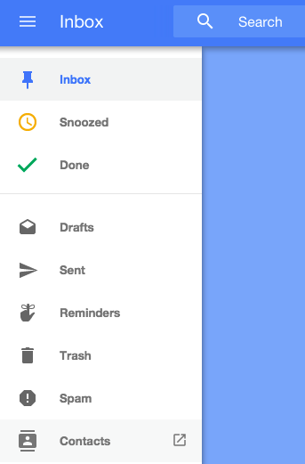 Google Inbox Links to Google Contacts