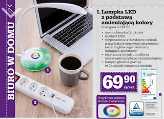 Lampka LED z podstawą zmieniającą kolory z Biedronka ulotka