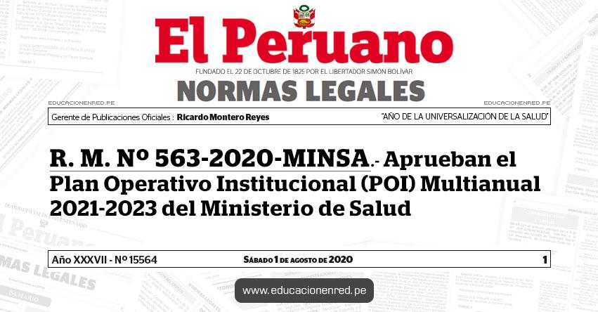 R. M. Nº 563-2020-MINSA.- Aprueban el Plan Operativo Institucional (POI) Multianual 2021-2023 del Ministerio de Salud