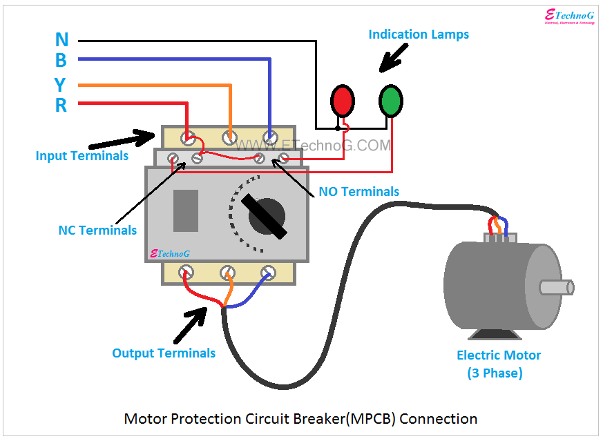 mpcb uses advantages connection  motor protection circuit