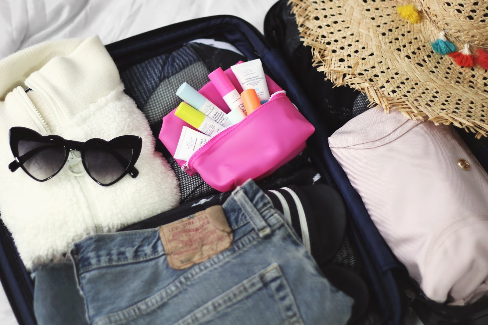 Open suitcase full of clothes, Louis Vuitton Neverfull Carry-on, Lands' End Clothing, Beach Clothing, Packing for Vacation, Beach Vacation Pack with Me, College Blogger, Lifestyle Blogger, Travel Blogger