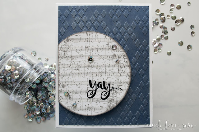 This quick and easy masculine card features a fun grungy Vintage Notes Background, as well as a metallic sheen on the Diamond Netting Embossing. Created using Fun Stampers Journey Stamps and supplies.
