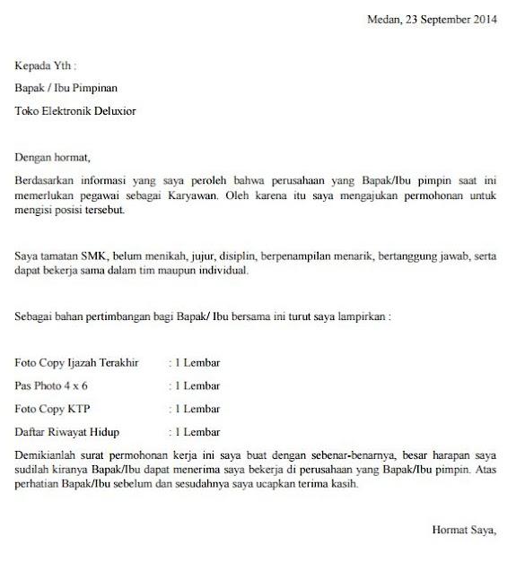 Contoh Surat Lamaran Kerja Di Konter Kumpulan Surat Penting
