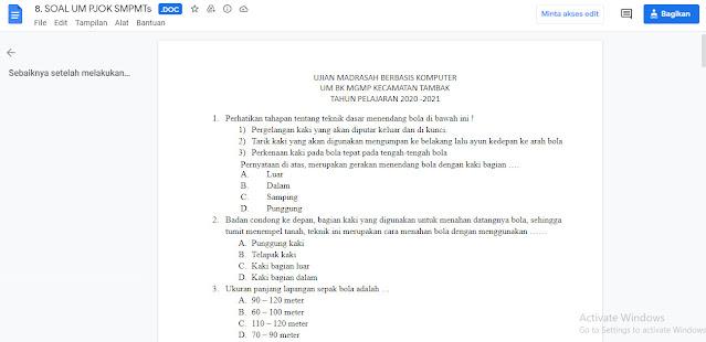 Contoh Latihan Soal Ujian Madrasah (UM) PJOK MTs