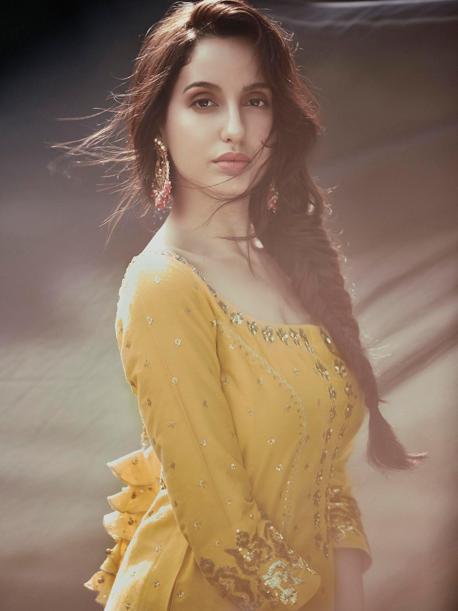 Nora Fatehi in Yellow Kurta