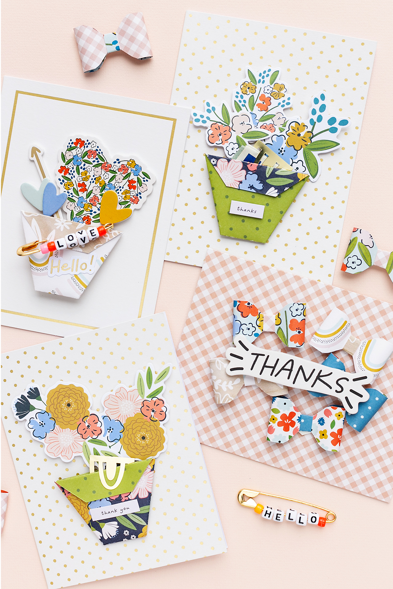 Four happy cards made with the Jen Hadfield Collection American Crafts Sandra Dietrich Mojosanti