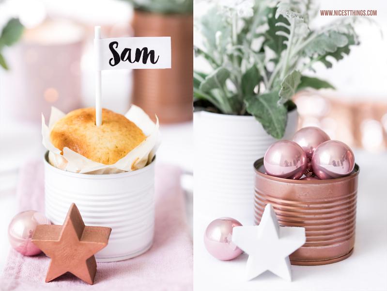 Weihnachtliche Tischdeko mit Dosen in Kupfer Weiss Rosa Rosegold