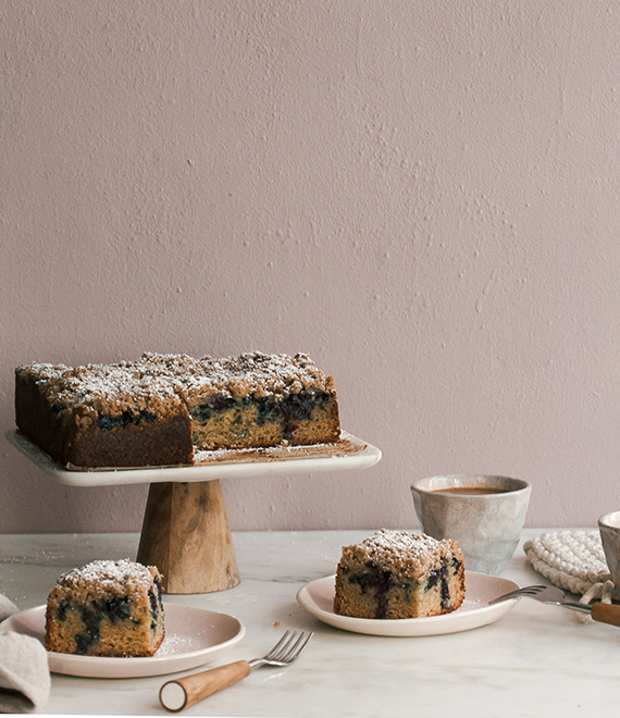 Blueberry cardamom coffee cake recipe by A Cozy Kitchen