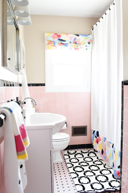 Making pink tile work in a bathroom