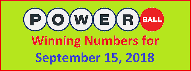 PowerBall Winning Numbers for Saturday, 15 September 2018