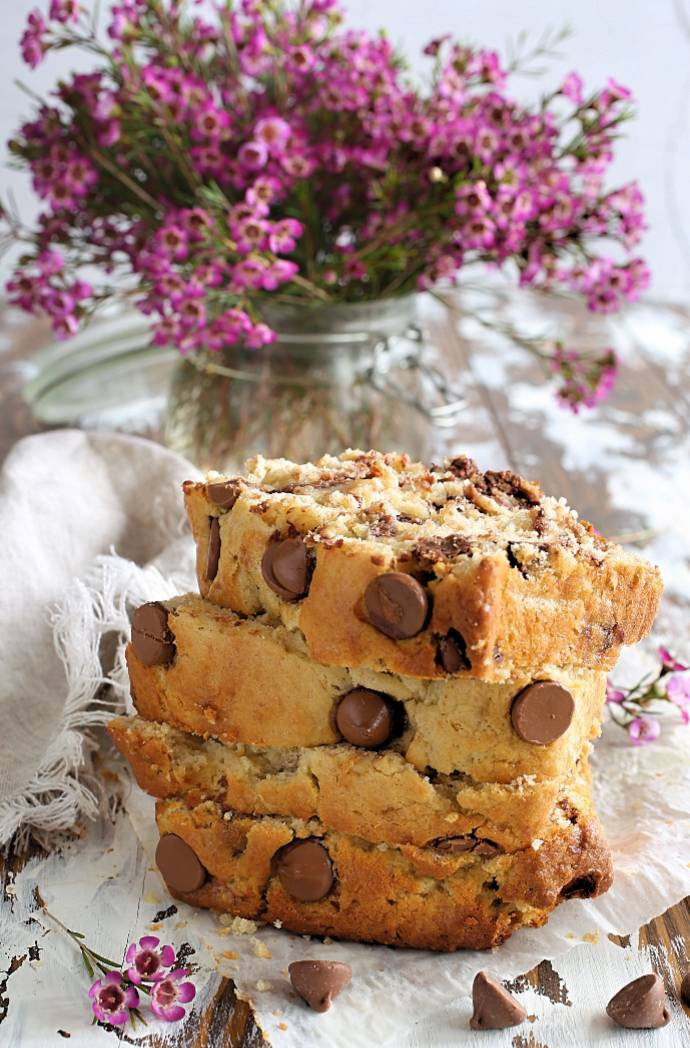 Recipe for moist, banana bread with Greek yogurt and milk chocolate chips.