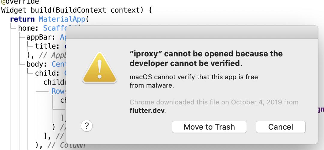 رسالة الخطأ iproxy cannot be opened because the developer cannot be verified على نظام ماك أثناء برمجة تطبيق على فلاتر
