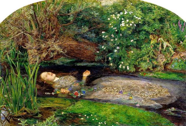 Famoso cuadro del pintor prerrafaelista John Everett Millais titulado Ofelia ahogada u Ofelia muerta