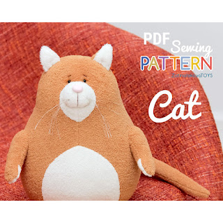 cat sewing pattern and DIY tutorial, how to make plush toy