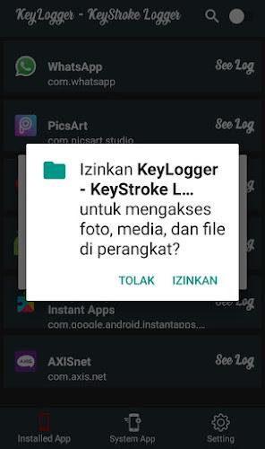 Izinkan KeyStroke Logger Untuk Mengakses Perangkat Android
