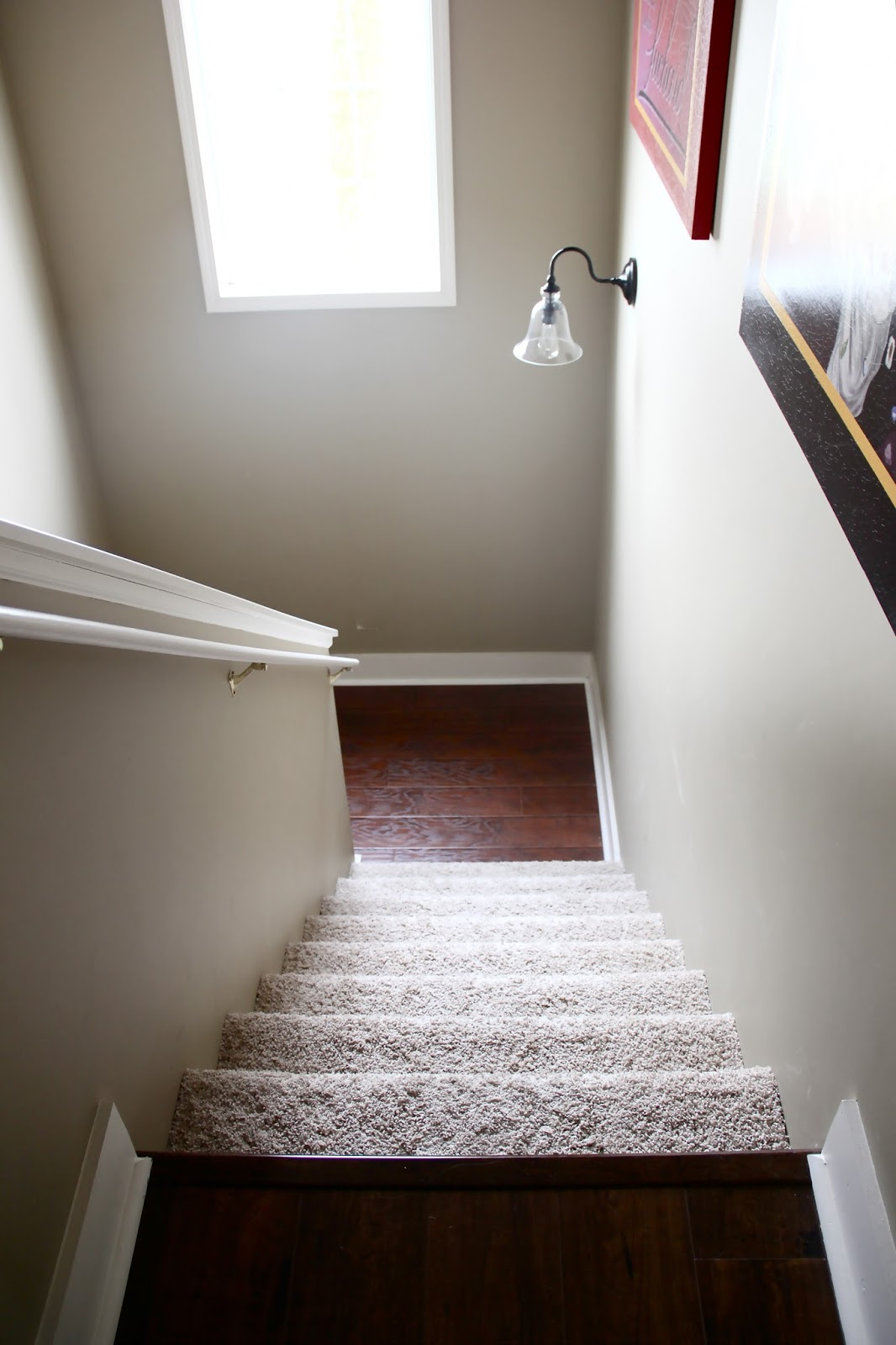 The Yellow Cape Cod How To Transition Between Two Different Wood   Carpeted Stairs With Wood Floors   Charcoal Grey   Upstairs   White   Diy   Luxury